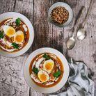 Soupe butternut, chèvre et oeuf