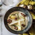 Crème au gorgonzola, poire et granola