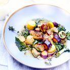 Eclats de foie gras et légumes au miel