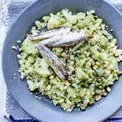 Ecrasée de chou-fleur vert aux pignons, câpres et anchois