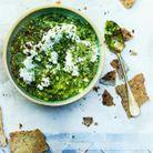 Tartinade fèves et petits pois, crackers au sésame