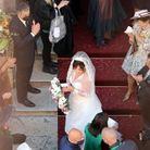 Lady Gaga sur les marches de l'église