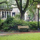 Le parc de Chippewa Square, à Savannah aux États-Unis