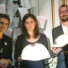 Françoise-Marie Santucci (ELLE), Pauline Guéna et Guillaume Binet, les lauréats du Document pour «L'Amérique des écrivains» (Ed. Robert...