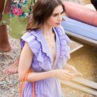 Lily Collins vêtue d'une jolie robe à volants