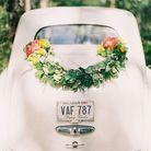 Décoration voiture mariage champêtre