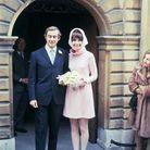 Andrea Dotti et Audrey Hepburn dans sa robe rose Givenchy lors de son second mariage