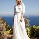 Robe de mariée d'hiver effet chemisier