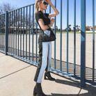 Devant et arrière du jean bicolore