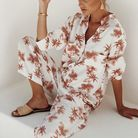 Haut de pyjama version imprimé tropical