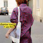 chemise vintage + sac tissu