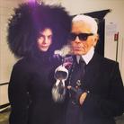Cara Delevingne et Karl Lagerfeld au show Fendi