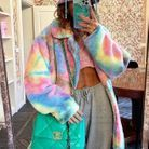 Manteau polaire multicolore