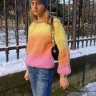 Pull multicolore  et jean denim