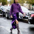 Pull violet en crochet