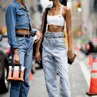 Total look veste en jean croppée + pantalon droit