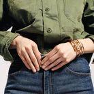 Bracelets « Juste Un Clou », en or jaune, en or jaune et diamants, et en or gris et diamants, Cartier. Chemise, Kaporal. Jean, Polo Ralph Lauren