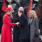 Emmanuel et Brigitte Macron accueillis par Philippe et Mathilde de Belgique