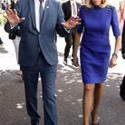 Brigitte Macron en robe bleue
