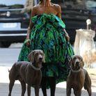 Céline Dion en robe Richard Quinn pour la semaine de la Couture