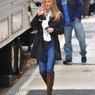 Le jean slim porté avec des bottes hautes