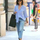 Pour déambuler dans New York, Katie Holmes opte pour des mocassins Gucci