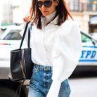 Katie Holmes en blouse blanche Khaite