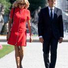 Brigitte Macron en petite robe rouge