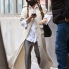Cardigan long et pantalon de costume pour Mary-Kate Olsen