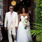 Tina Kunakey et sa robe de mariée