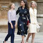 Letizia d'Espagne en robe fleurie Massimo Dutti