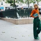 Une maille acidulé + un pantalon verte