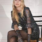 Robe courte en dentelle argentée H&M x The Vampire's Wife