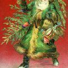 Santa Claus vêtu d'un costume vert en Allemagne en 1910