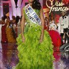 Robe verte pomme à froufrous pour Rachel Legrain-Trapani, Miss France 2007
