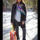 Mode street style look rue tendance foulard jean manteau noir