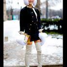 Street style : comment être chic sous la neige ? Bonnet et gants blancs en fourrure