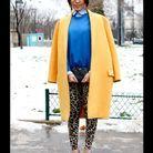 Street style : comment être chic sous la neige ? Tenue colour block