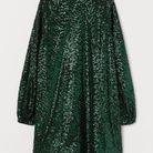 Robe verte à paillettes H&M