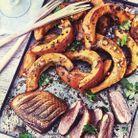 Magret de canard et potimarron rôti miso-cacahuètes