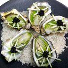 Huîtres en gelée de pomme et caviar