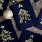 Bricolage de Noël des cartes de Noël à paillettes