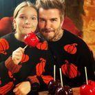 David Beckham et sa fille Harper en vampires