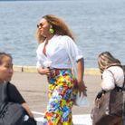 Beyoncé sur la piste de décollage de l'héliport pour partir au restaurant avec Jay-Z
