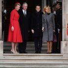 Brigitte et Emmanuel Macron accueillis par le roi Philippe et la reine Mathilde de Belgique