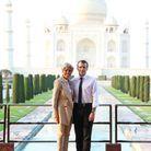 Emmanuel et Brigitte Macron devant le Taj Mahal, à Agra.