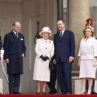 La reine d'Angleterre, le duc d'Edimbourg, Bernadette et Jacques Chirac (2004)