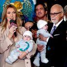 Céline Dion, René Angélil, leur fils René-Charles et les jumeaux Nelson et Eddy