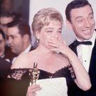 Simone Signoret et Yves Montand lors des Oscars, en 1960