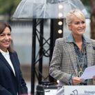 Laeticia Hallyday et Anne Hidalgo à l'inauguration de l'esplanade Johnny Halliday